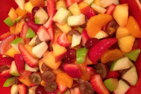 Close up of finished fruit salad