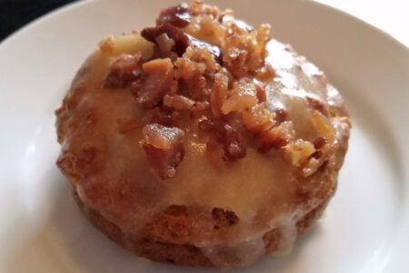 Low Carb Maple Glazed Bacon Donut on white plate