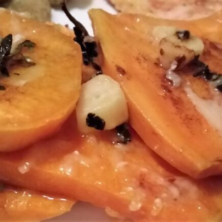 Extrme clos-up of finished Brown Butter Scalloped Sweet Potatoes